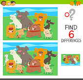 Cartoon Illustration of Find the Differences between Pictures Educational Activity for Children with Dogs Animal Characters
