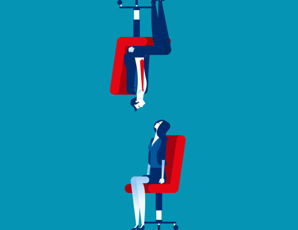 Differences between human. Concept business person vector illustration, Watching, Upside Down vector art illustration