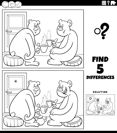 differences educational game with bears drinking tea coloring book page