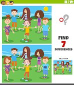 Cartoon Illustration of Finding Differences Between Pictures Educational Game with Funny Children and Teen Characters Group