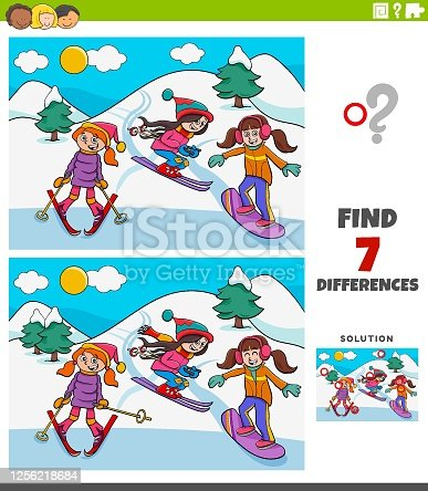 istock differences educational game with skiing girls 1256218684