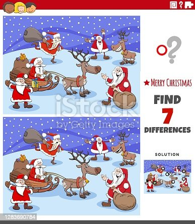 istock differences educational task for kids with Christmas characters 1283690784