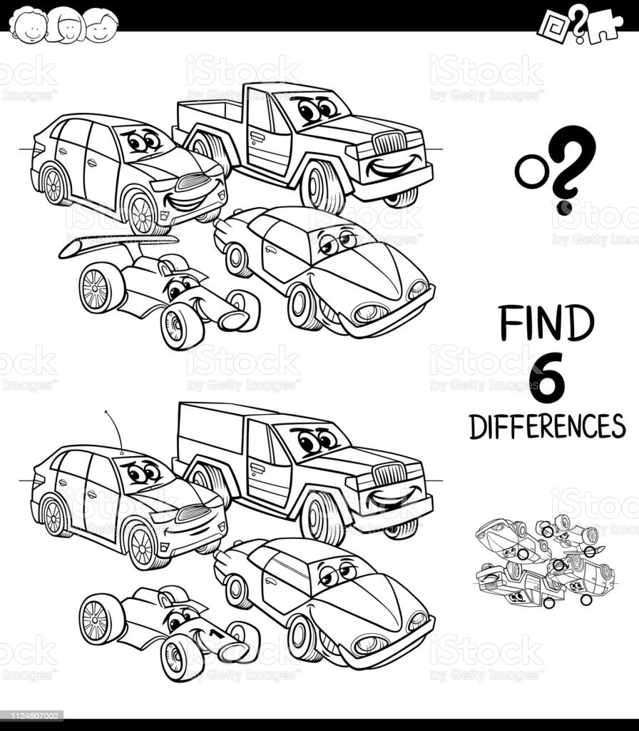Differences Game Color Book With Cars Stock Illustration Download Image Now Istock