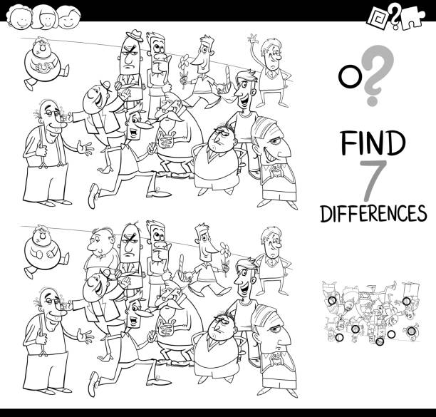 differences game with aliens coloring book vector art illustration