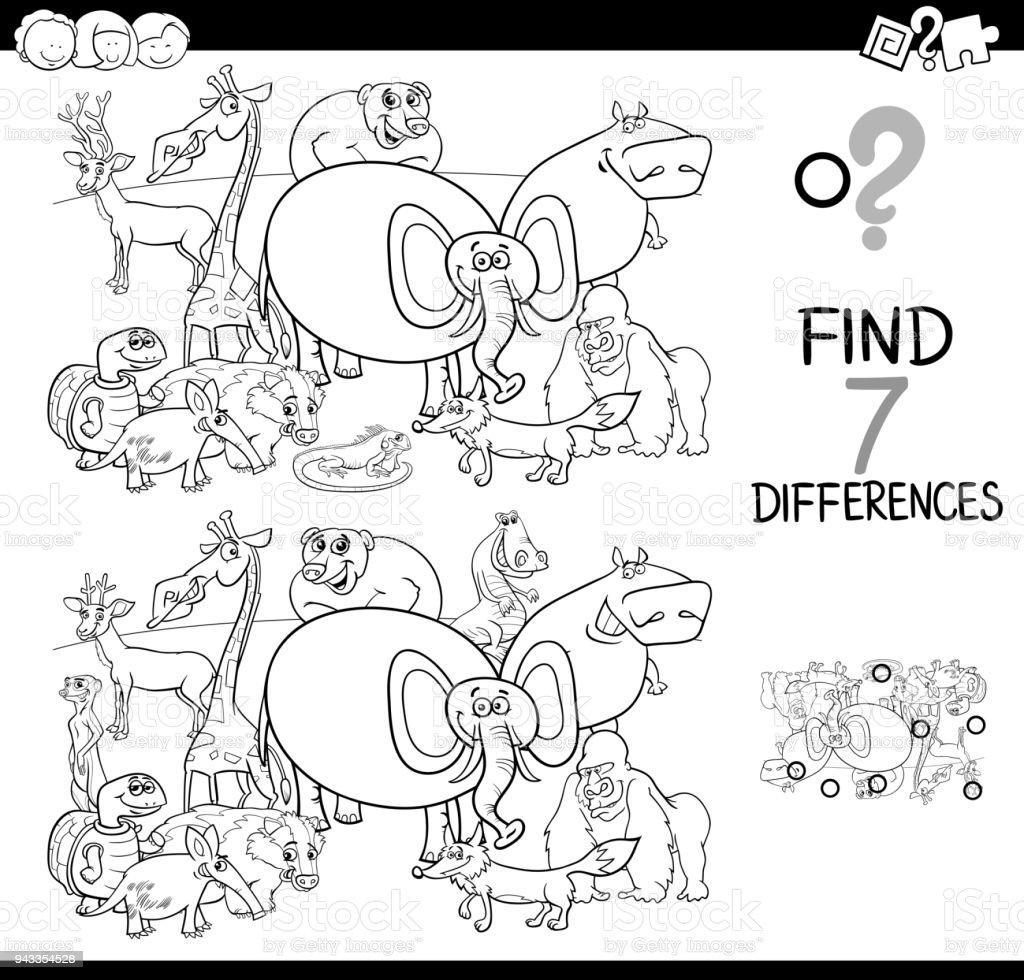 Hayvan Boyama Kitabı Ile Farklılıklar Oyunu Stok Vektör Sanatı