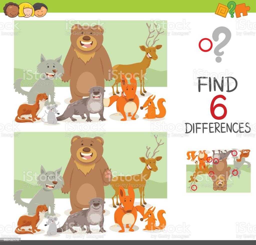 jeu des différences avec les animaux - Illustration vectorielle