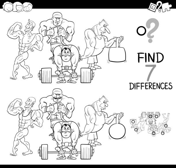differences game with athletes color book - office party stock illustrations, clip art, cartoons, & icons