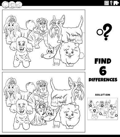 differences game with cartoon purebred dogs color book page