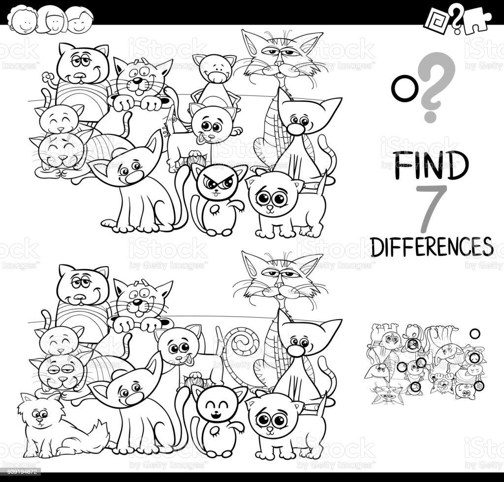 Kedi Boyama Kitabı Ile Farklılıklar Oyunu Stok Vektör Sanatı