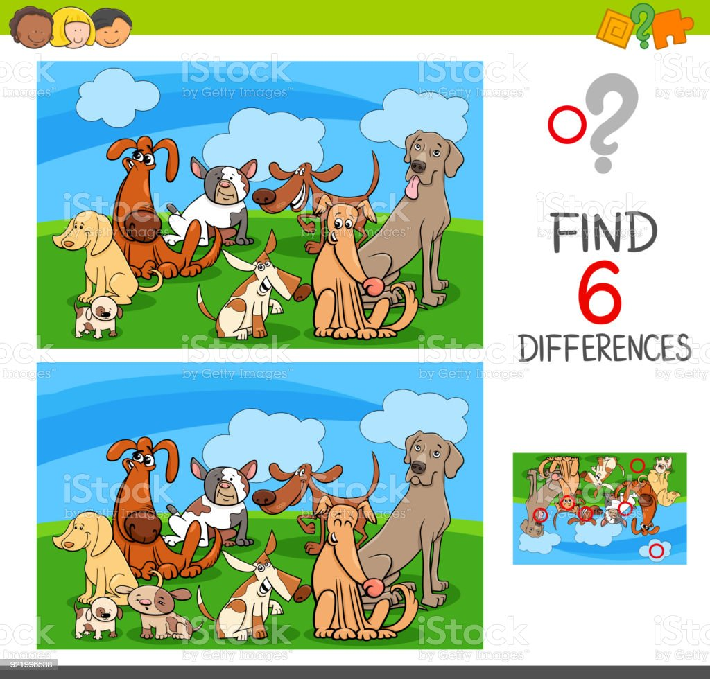 differences game with dogs animal characters vector art illustration