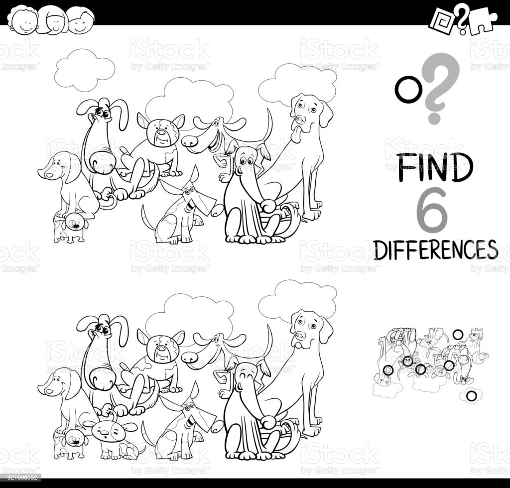 differences game with dogs animals coloring bookdifferences game with dogs animals coloring book vector art illustration