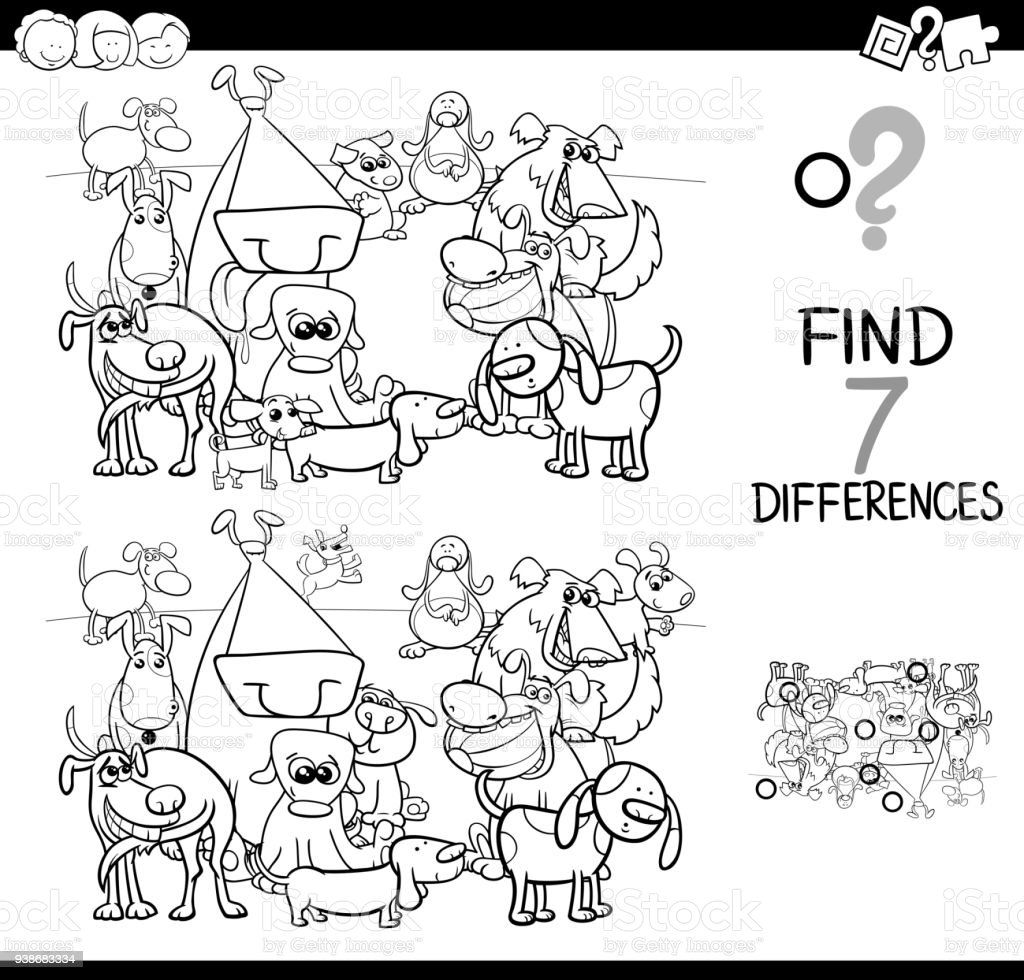 Köpek Boyama Kitabı Ile Farklılıklar Oyunu Stok Vektör Sanatı