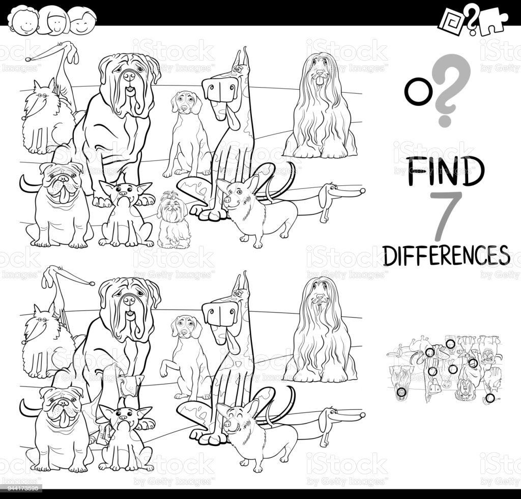 Differences Game With Dogs Coloring Book Stock Vector Art & More ...