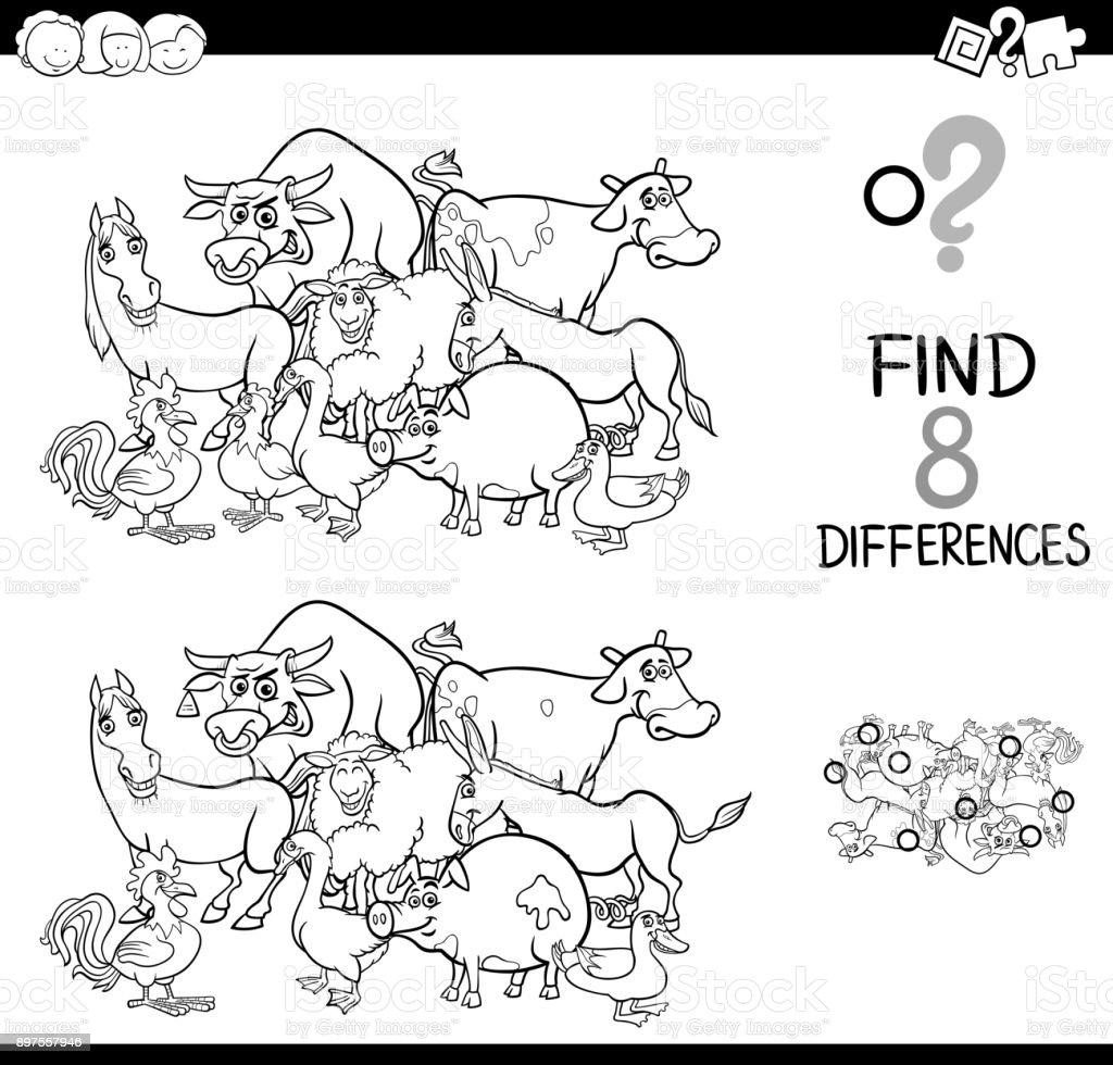 Ciftlik Hayvanlari Boyama Ile Farkliliklar Oyunu Stok Vektor