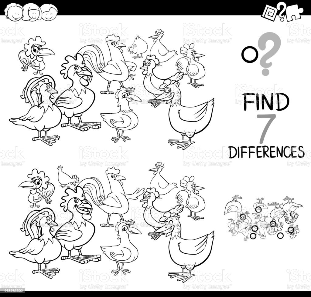 Differences Game With Farm Chickens Coloring Book Stock Vector Art ...