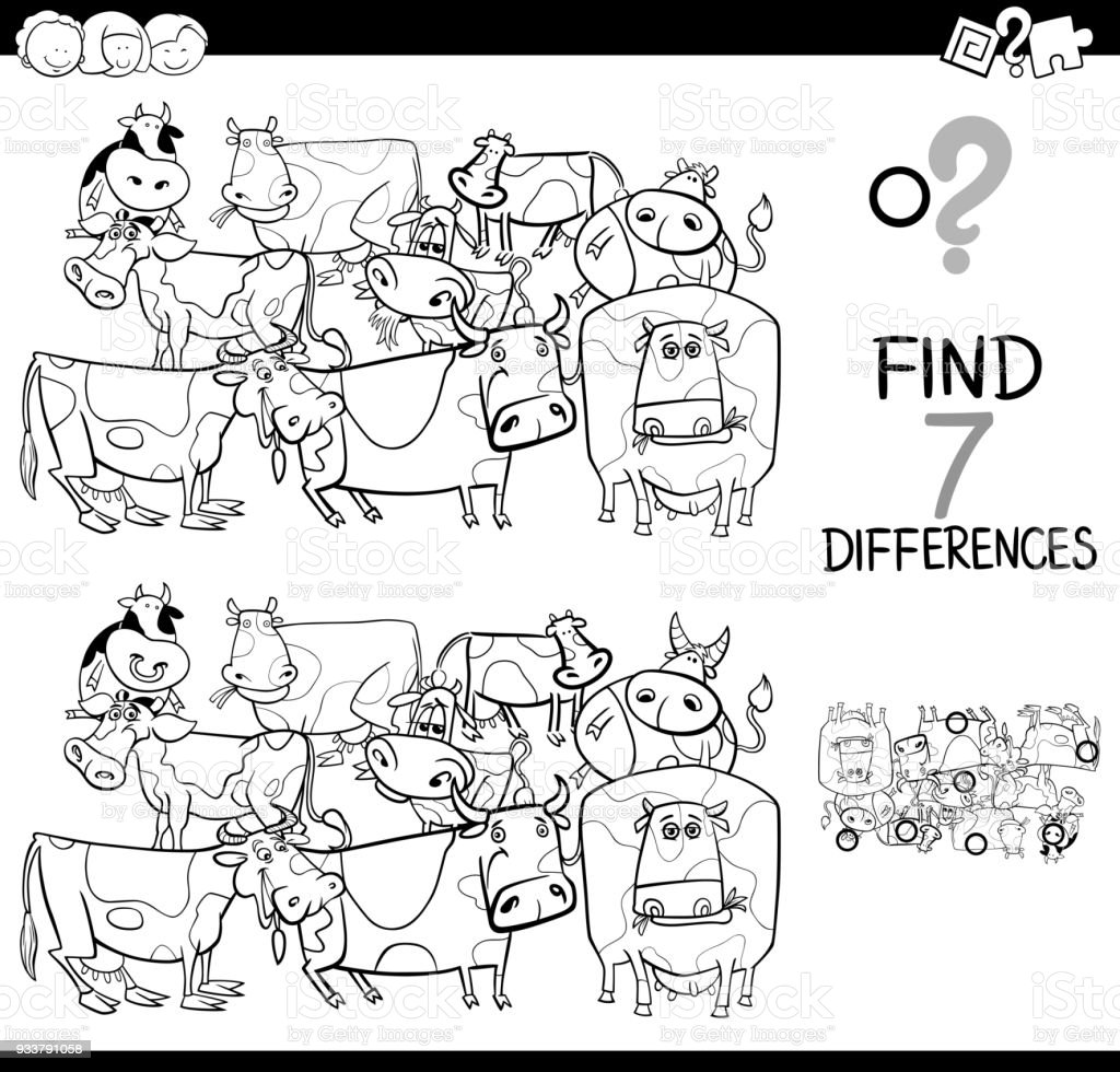 Differences Game With Farm Cows Coloring Book Stock Vector Art ...