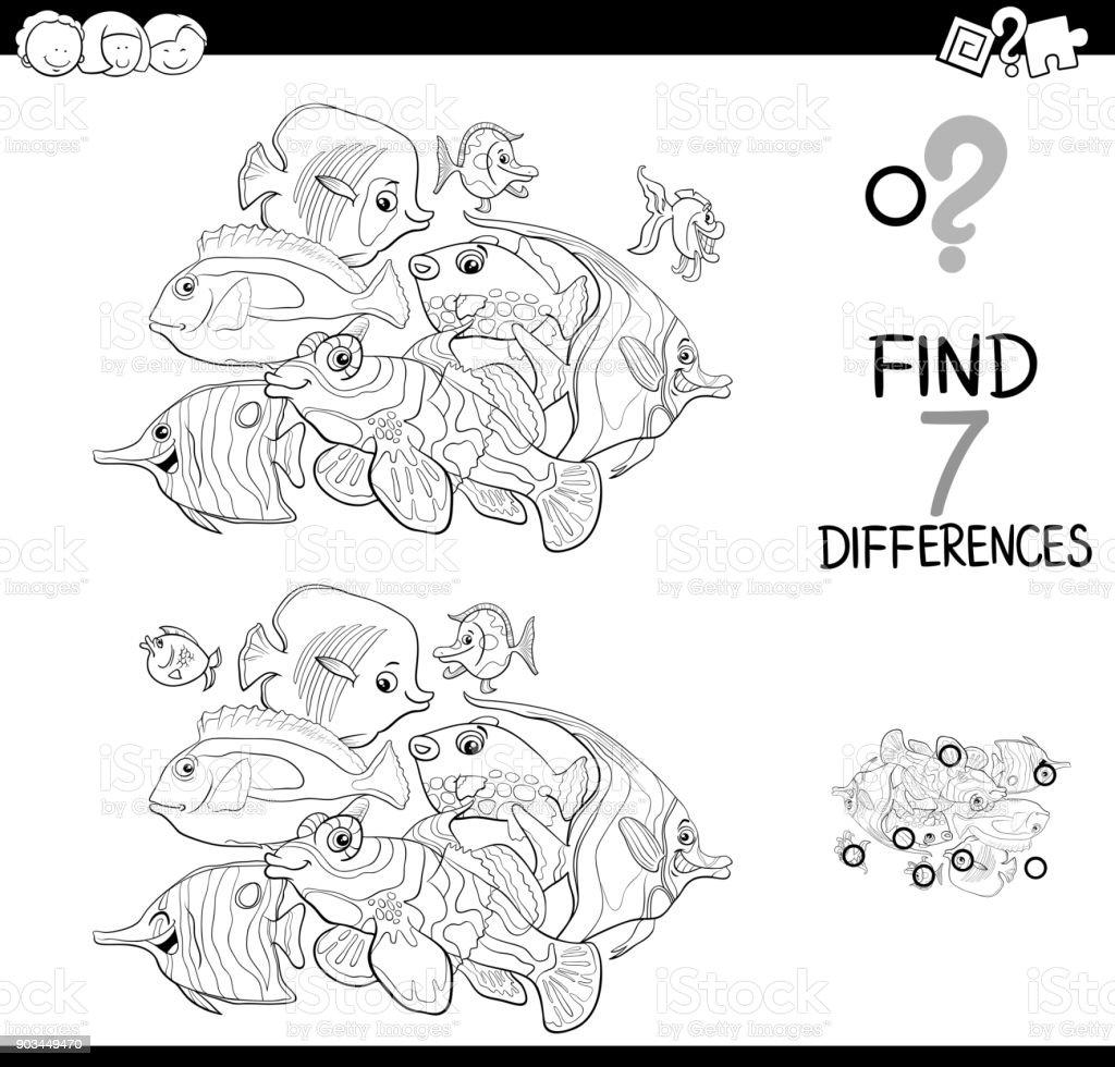 Farklılıklar Oyunu Boyama Balık Hayvanlarla Stok Vektör Sanatı