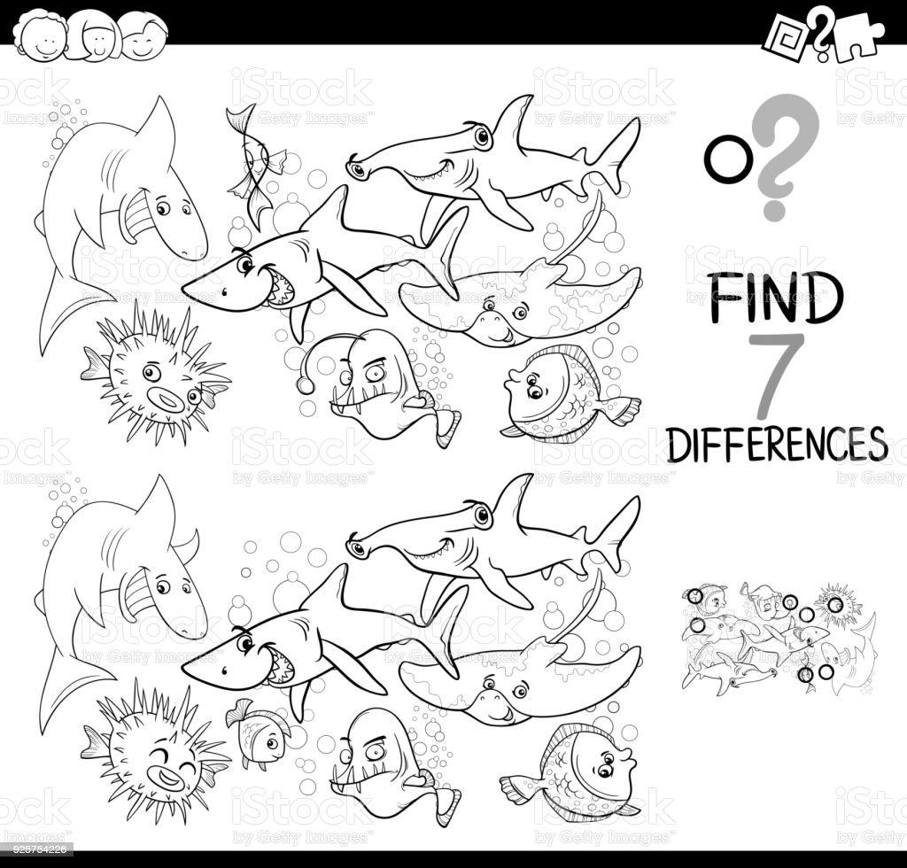 Balık Boyama Kitabı Ile Farklılıklar Oyunu Stok Vektör Sanatı