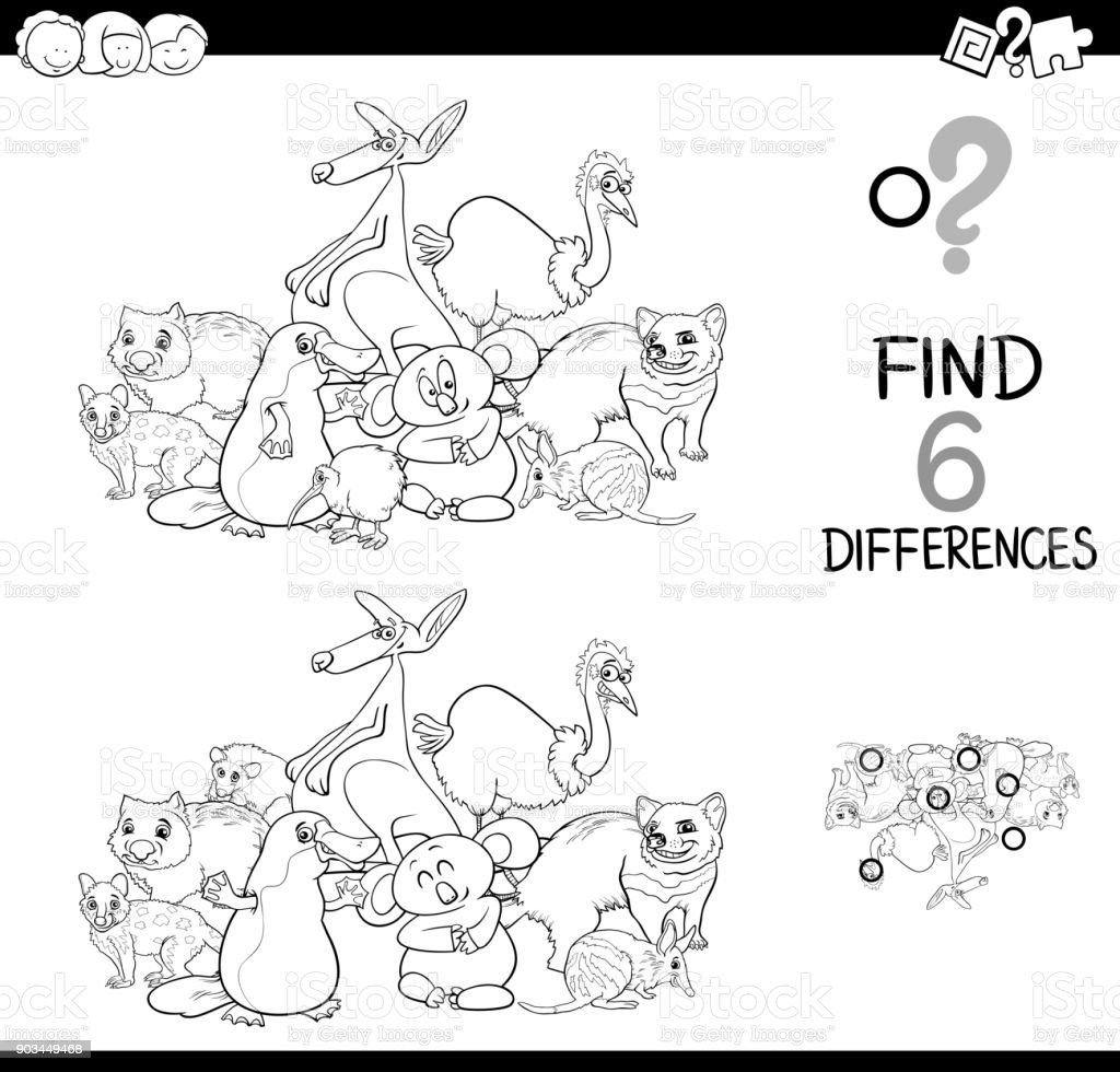 Komik Hayvanlar Boyama Ile Farklılıklar Oyunu Stok Vektör Sanatı