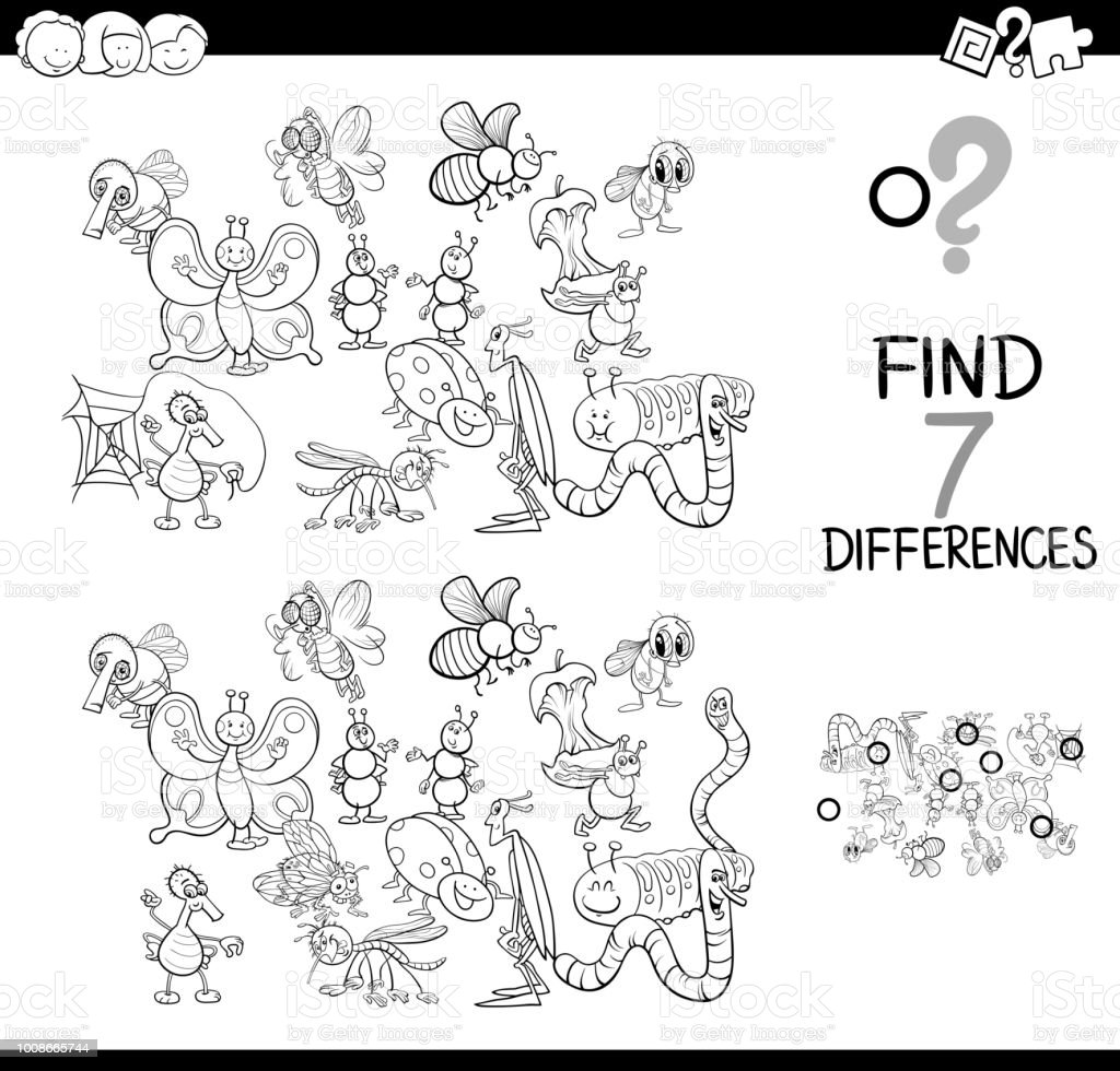 - Differences Game With Insects Color Book Stock Illustration