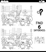 Black and White Cartoon Illustration of Finding Six Differences Between Pictures Educational Game for Children with Happy Kids with their Dogs Characters Group Coloring Book