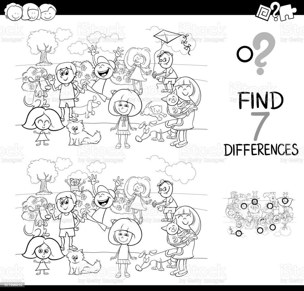 Vetores De Jogo De Diferencas Com Criancas E Animais De Estimacao