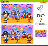 Cartoon Illustration of Finding Differences Between Pictures Educational Activity Game with Playful Children Characters on Masked Ball