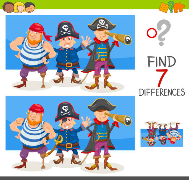 differences game with pirate characters vector art illustration