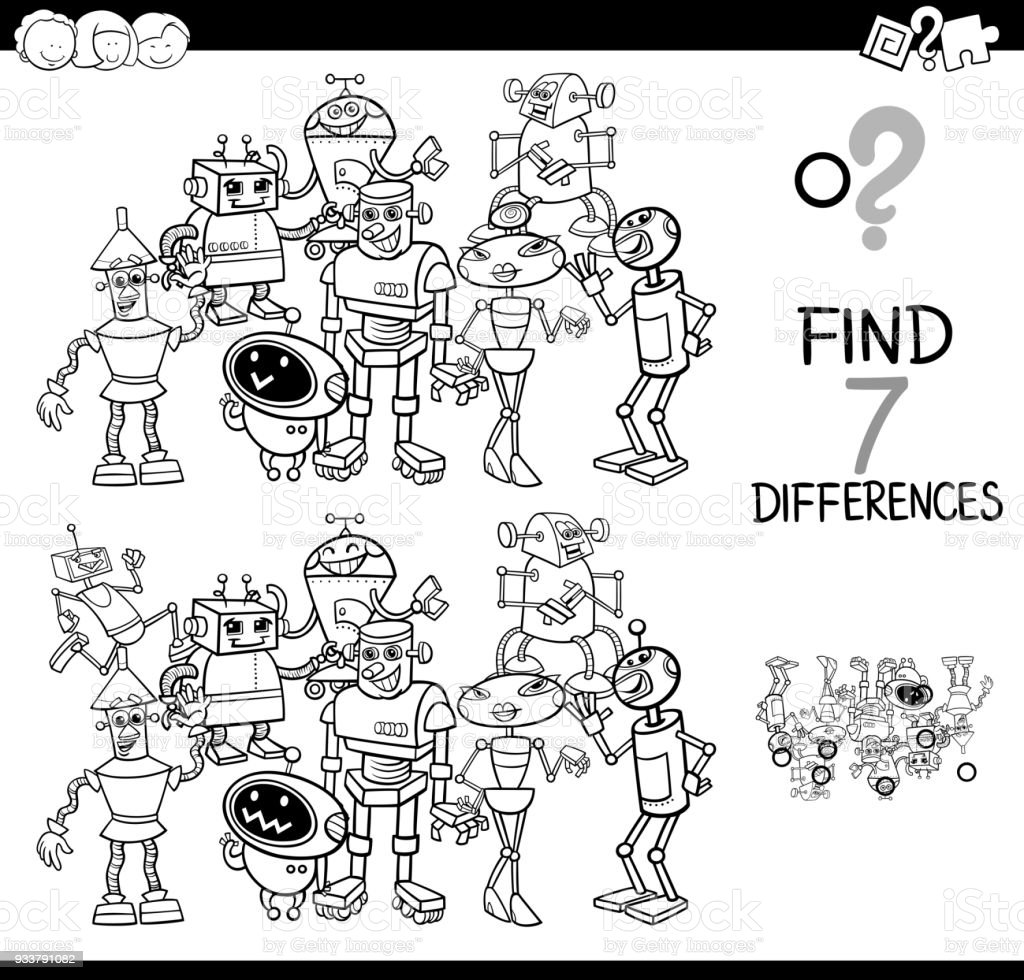 Differences Game With Robot Coloring Book Stock Vector Art & More ...