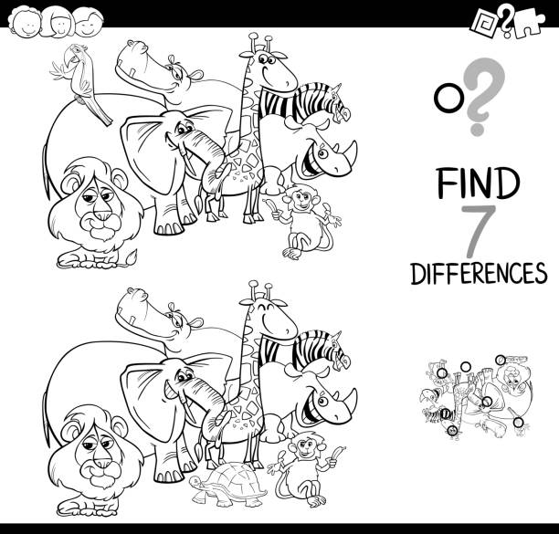 differences game with safari animals coloring book - coloring book pages templates stock illustrations
