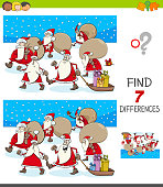 Cartoon Illustration of Finding Seven Differences Between Pictures Educational Game for Children with Santa Claus Christmas Characters