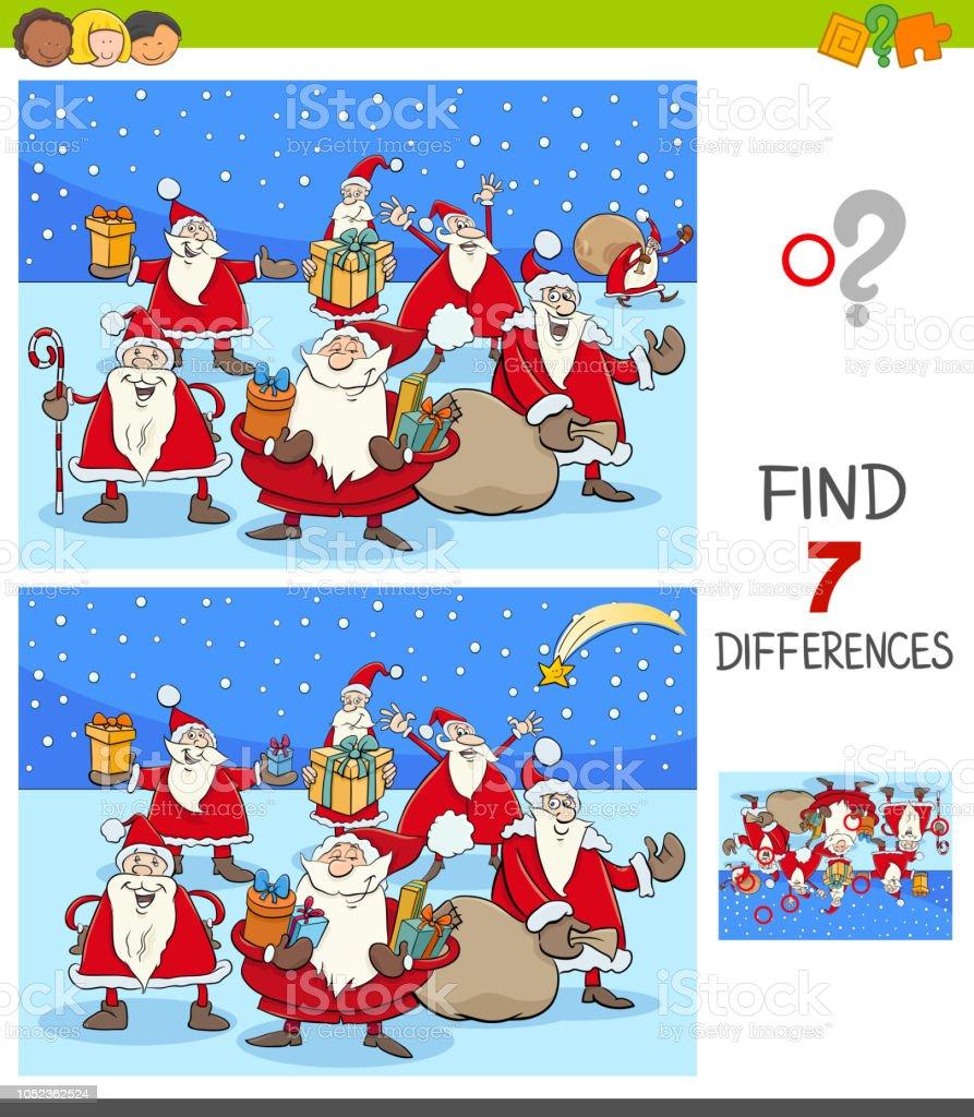 Unterschiede Spiel Mit Santa Claus Weihnachten Zeichen Stock Vektor ...