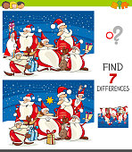 Cartoon Illustration of Finding Seven Differences Between Pictures Educational Game for Kids with Santa Claus Christmas Characters