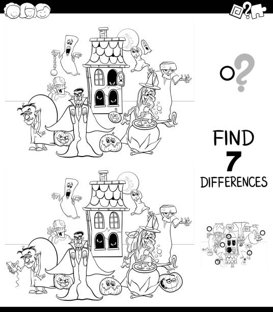 differences game with spooky characters color book - coloring book pages templates stock illustrations