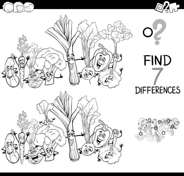 unterschiede spiel mit gemüse farbbuch - kräutermischung stock-grafiken, -clipart, -cartoons und -symbole