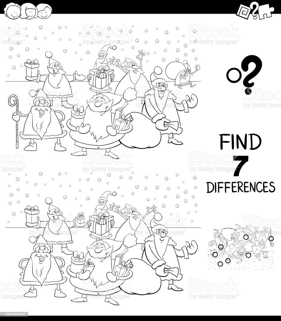 differences game with xmas santa claus color book royalty free differences game with xmas santa