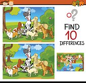 Cartoon Illustration of Finding Differences Educational Task for Children with Dogs Characters