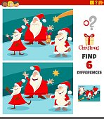 Cartoon Illustration of Finding Differences Between Pictures Educational Game for Children with Funny Santa Claus Characters on Christmas Time