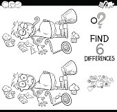differences with boy and sweets coloring book