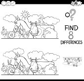 differences with farm animals color book
