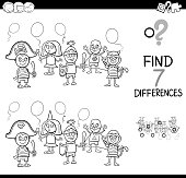 Black and White Cartoon Illustration of Finding Differences Between Pictures Educational Activity Game with Playful Children Characters on Masked Ball Coloring Book