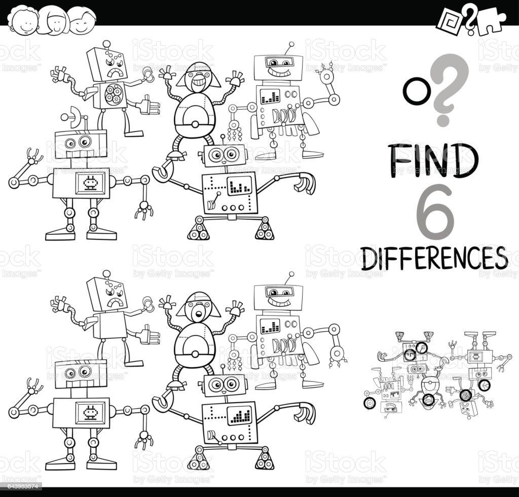 Sayfa Boyama Robotları Ile Farklılıklar Stok Vektör Sanatı 6