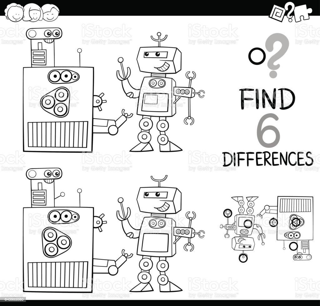 Sayfa Boyama Robotlari Ile Farkliliklar Stok Vektor Sanati 6