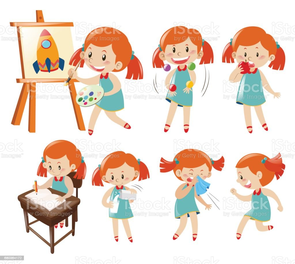 Different actions of little girl in blue vector art illustration