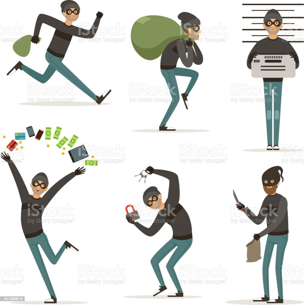 Different actions scenes with cartoon bandit. Vector mascot of thief in action poses. Illustrations of robbery or raid vector art illustration