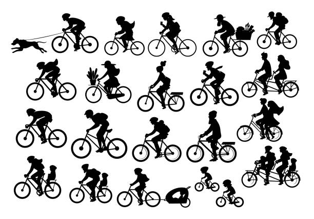 different active people riding bikes silhouettes collection, man woman couples family friends children cycling - bike stock illustrations, clip art, cartoons, & icons