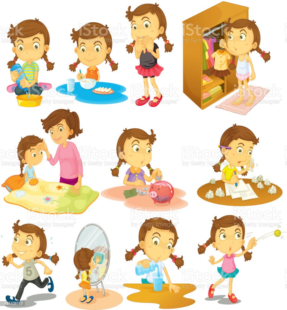 Different activities of a young girl vector art illustration