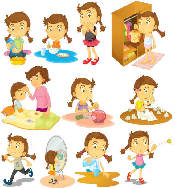 ilustraciones, imágenes clip art, dibujos animados e iconos de stock de diferentes actividades de una chica joven - tareas domésticas
