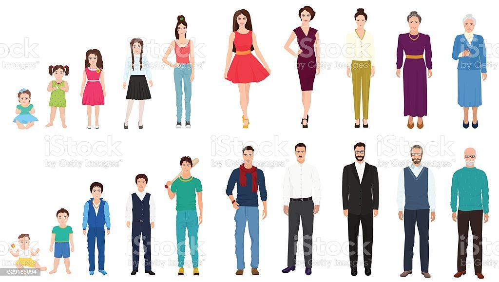 Different age generations of the male and female person. People - ilustración de arte vectorial