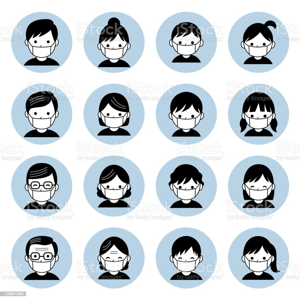 different age man and woman wearing mask to prevent infection The file is vector eps 10 illustration. Adult stock vector